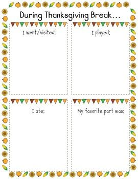 This is a great ice breaker activity to use with your students after coming back from Thanksgiving break! It gives them a chance to get back in the school swing, while also telling their friends and teacher about what they did during break. :) This download is 2 pages and includes a color