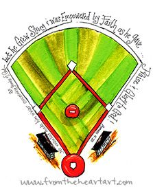 Baseball Diamond Print (Romans 4:20) Romans 4:20New American Standard Bible (NASB)  20 yet, with respect to the promise of God, he did not waver in unbelief but grew strong in faith, giving glory to God,
