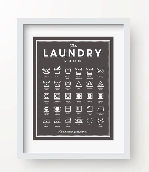 Laundry Room decor, SLATE color, laundry wall decor, laundry guide, laundry printable, 56 colors, laundry symbols, organizational print