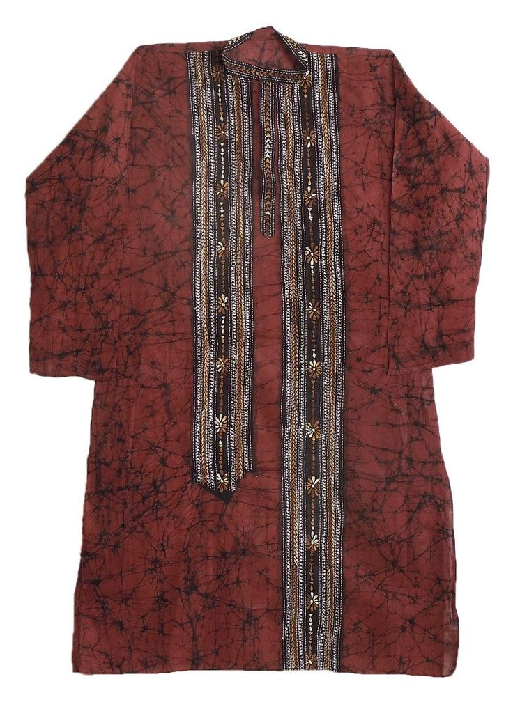 Kantha Embroidery on Brown Batik Kurta (Cotton)