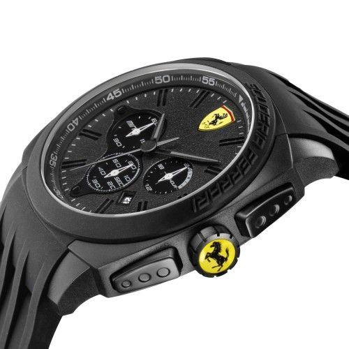 Scuderia Ferrari Aerodinamico Chronograph Watch Black NEW #ferrari #ferraristore #scuderiaferrari #watch #collection #new #aerodinamico #exclusive #style #prancinghorse #cavallinorampante #passion #carbon #alarm #data #timezone #waterproof #cronograph #alarm #black #detail #case