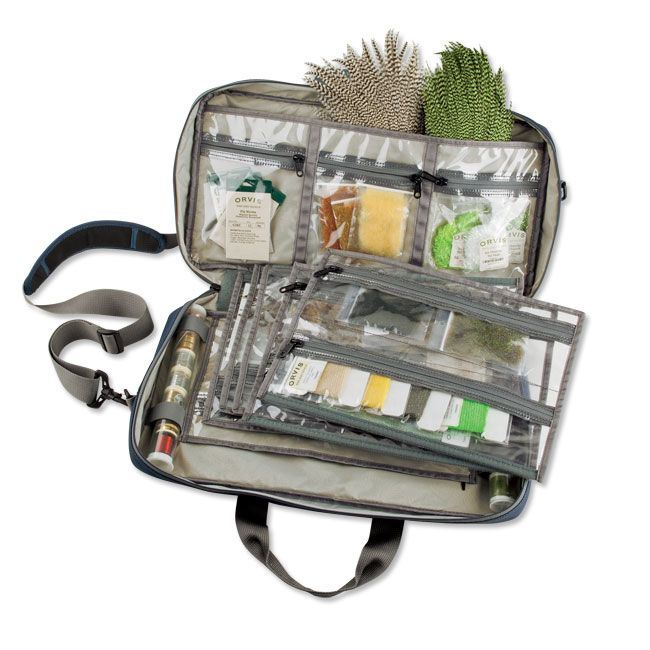 Fly Tying Materials Bag - Safe Passage Fly Tiers Kit Bag -- Use a make-up bag or travel case!