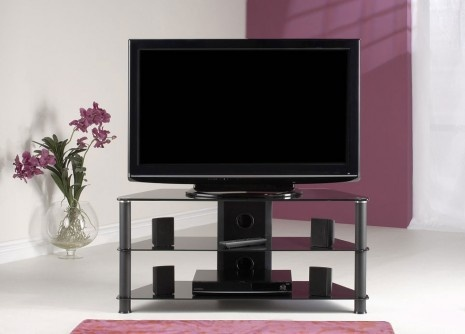 Jual Furnishings Classic Metal TV Stand is constructed with quality aluminium uprights and black toughened glass. An enclosed cable management system means that cables can be neatly hidden. £118.00