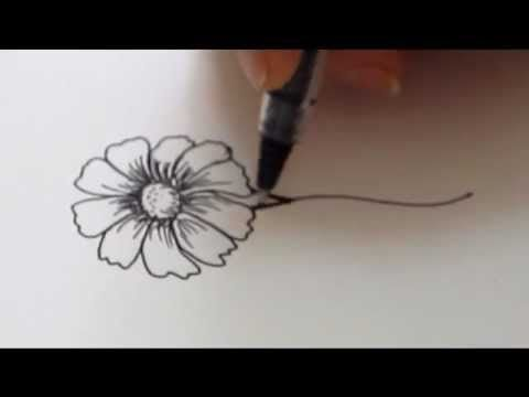 How To Draw a flower - Daisy Tutorial - YouTube