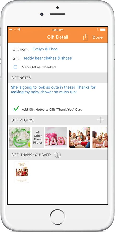 OurGifts app makes it easy to take notes and photos for each gift received
