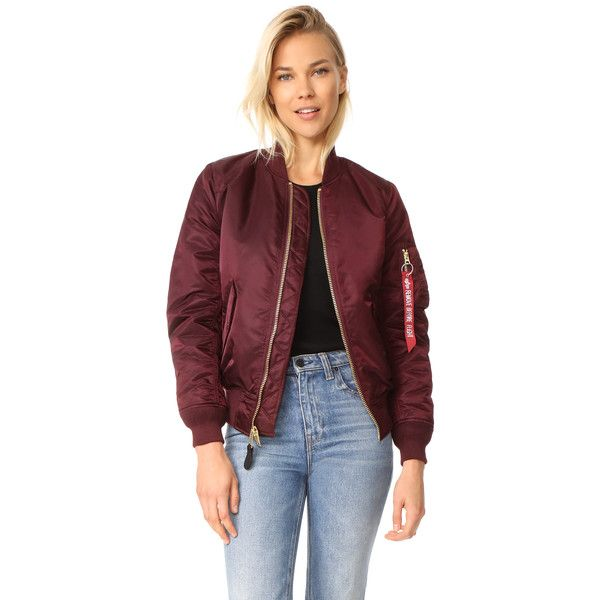 Alpha Industries MA-1 Reversible Bomber Jacket (190 CAD) ❤ liked on Polyvore featuring outerwear, jackets, maroon, style bomber jacket, lined bomber jacket, maroon bomber jacket, reversible jackets and blouson jacket