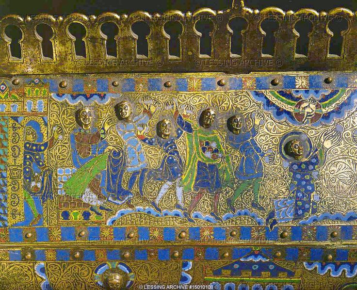 "https://flic.kr/p/azMfDy | The lapidation of Saint Stephen, detail | The lapidation of Saint Stephen. Detail of the ""Scenes of the lapidation of Saint Stephen"" on the Reliquary of Saint Stephen (last quarter 12th)  Limoges enamel  Overall size: 25 x 28 x 11 cm Gimel-les-Cascades, Eglise Saint-Priest © Lessing Archive"