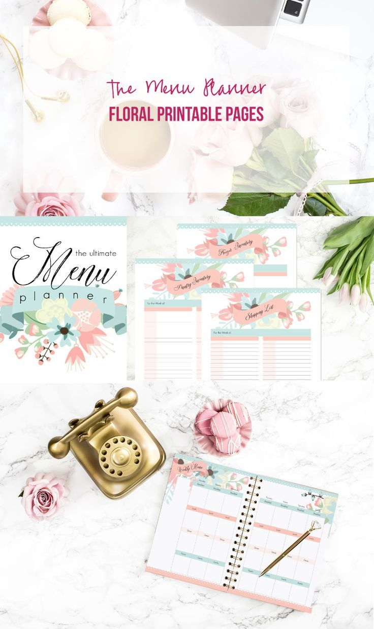 The Menu Planner: 5 Floral Printable Pages