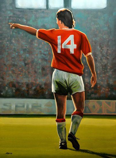 Johan Cruijff Nr 14 in Oranje schilderij