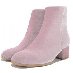 Pink Velvet Blunt Head Heels High Top Boots Shoes
