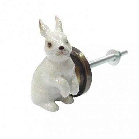 Bouton de tiroir Lapin Blanc, en porcelaine.