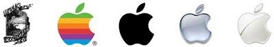 Apple : Le logo de la marque représente la pomme de Newton. Le logo est considéré (à juste titre) comme trop difficile à comprendre, il est remplacé par la pomme croquée. En 1977 elle est colorée pour plus de fun et 20 ans plus tard elle est chromée pour faire passer une image plus High Tech.