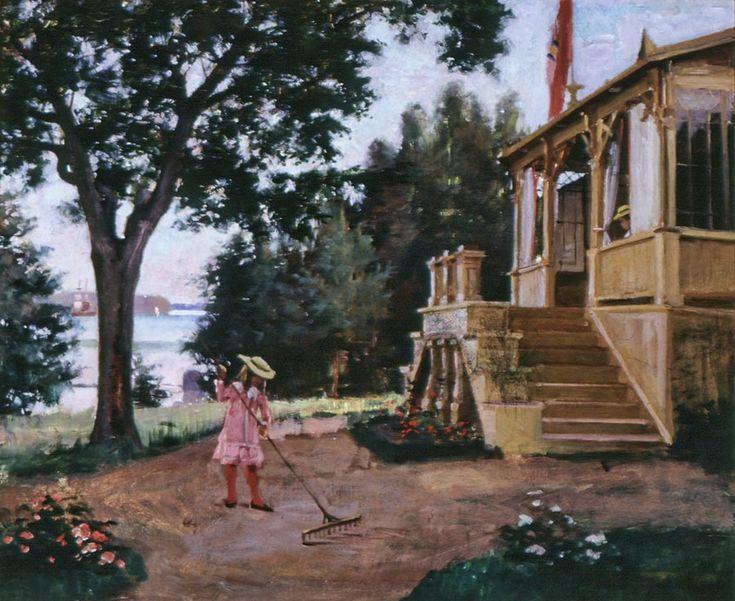 """Albert Edelfelt: """"Haikon puutarhasta"""", 1880 - Edelfelt palasi Pariisiin syksyllä ja vuokrasi ullakkoateljeen Quartier Latinista. Hän maalasi ullakkoateljeessaan Kuningatar Blankan,joka oli näytteillä Pariisin Salongissa 1877 ja Pariisin maailmannäyttelyssä 1878. Ensimmäinen yksityisnäyttely oli 1878 Helsingin Ritarihuoneella. Teos Kaarle herttua herjaa Klaus Flemingin ruumista palkittiin valtion henkilömaalauskilpailussa."""