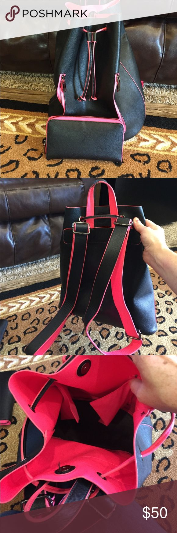 Neimun Marcus brand back pack and wallet Black and hot pink back pack and wallet Bags Backpacks