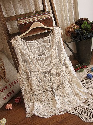 daydreamer embriodery lace sleeveless top in beige