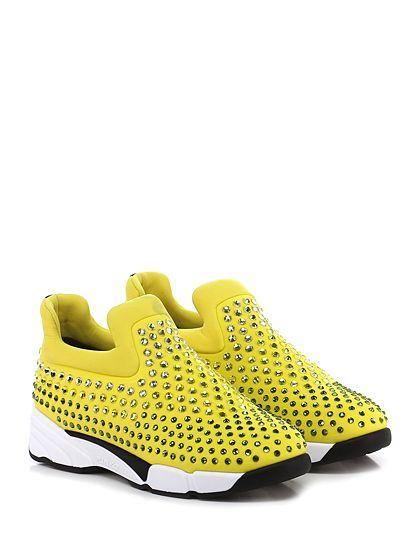 Pinko - Sneakers - Donna - Sneaker in tessuto tecnico elasticizzato con multi strass su tomaia e suola in gomma. Tacco 45, platform 25 con battuta 20. - GIALLO - € 298.00