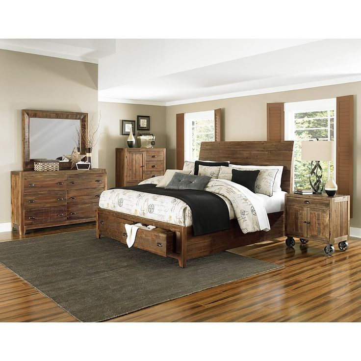 river ridge wood storage platform bed in distressed natural by magnussen home http