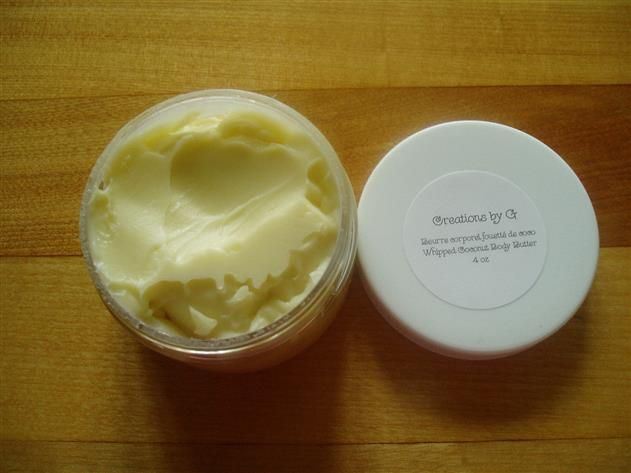 A smooth creamy body butter that leaves your skin feeling moisturized and silky soft. It goes on a bit greasy but soaks into the skin very quickly. <br/><br/>INGREDIENTS Coconut oil, shea butter, jojoba oil, olive oil <br/><br/>Health Benefits of Ingredients:<br/><br/>COCONUT OIL - Excellent for dry, itchy, sensitive skin and is a great moisturizer <br/><br/>SHEA BUTTER - Excellent moisturizer and great for sun damaged skin<br/><br/>JOJOBA OIL - Is actually a wax and it helps with dry…