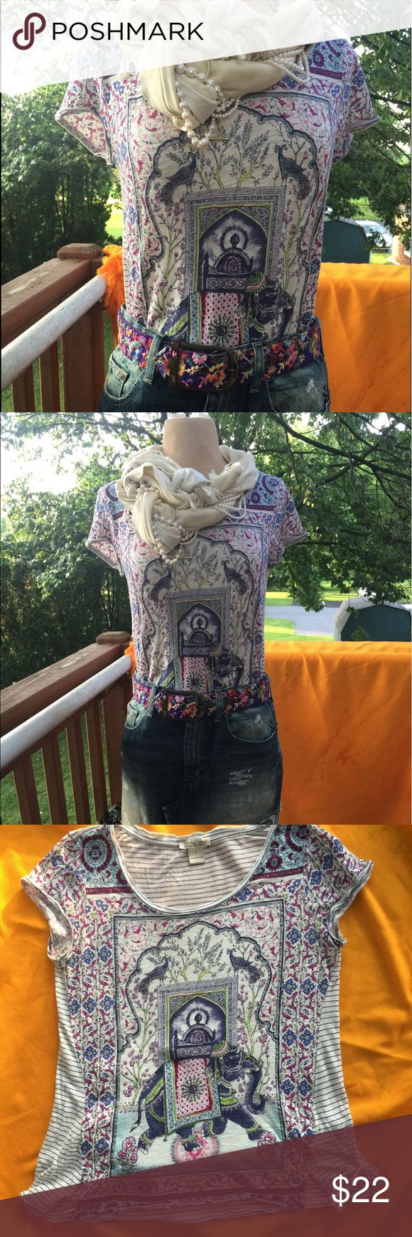 Lucky Brand Indian Festival Shirt Size small Lucky Brand womens T-shirt with beautifully-depicted, blue Indian elephant in procession.  He carries a howdah on her back, and he is surrounded by botanical flourishes, of purple, pink, silver and olive green. Lucky Brand Shoes Over the Knee Boots