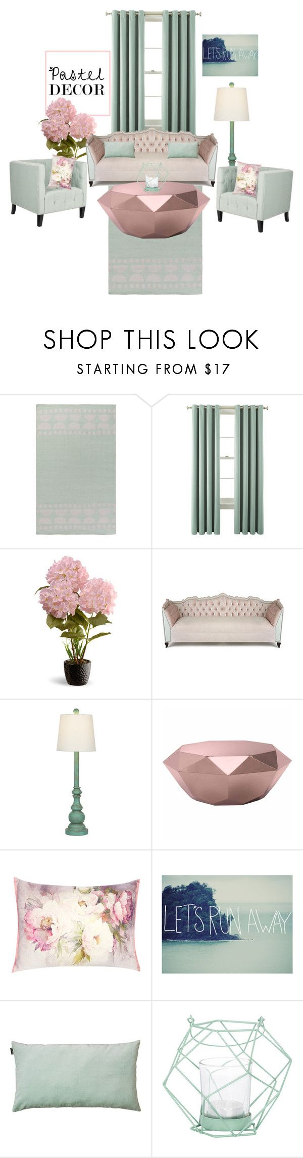 """""""Pink and green pastel"""" by pink-roosje ❤ liked on Polyvore featuring interior, interiors, interior design, home, home decor, interior decorating, Lotta Jansdotter, Liz Claiborne, National Tree Company and Haute House"""