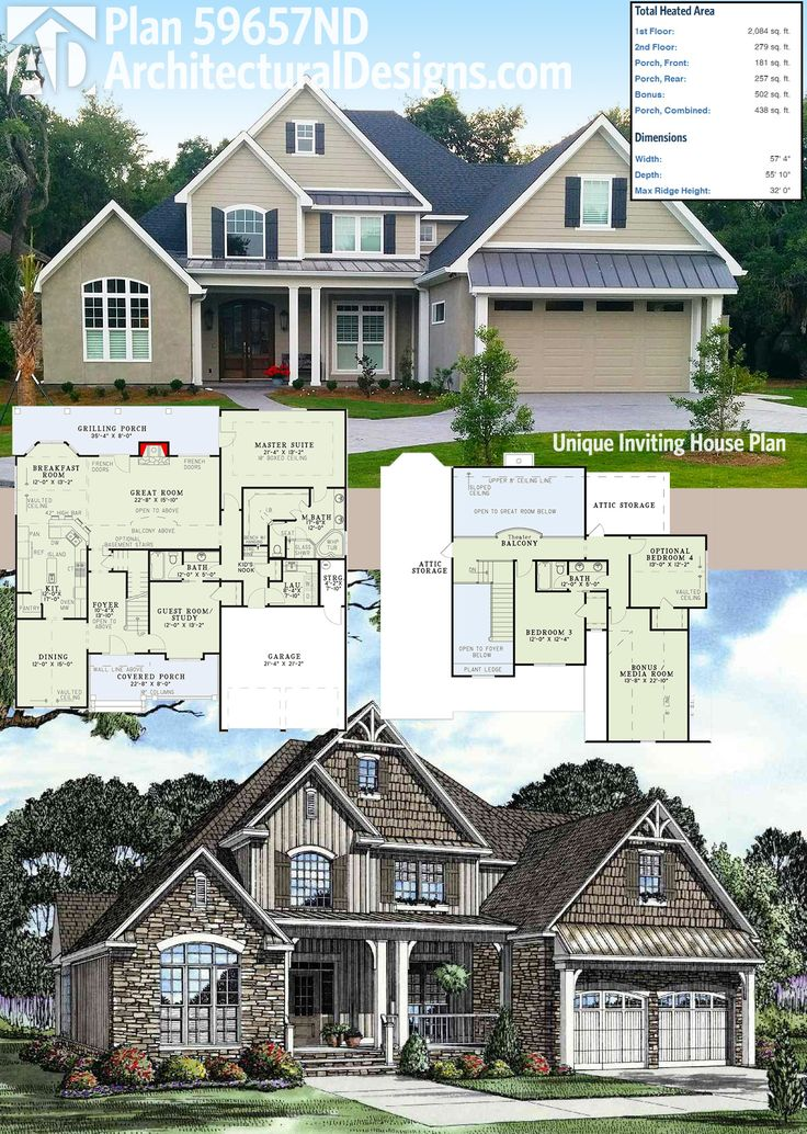 Architectural Designs House Plan 59657nd Comes To Life With Some Tasteful Client Made Changes To