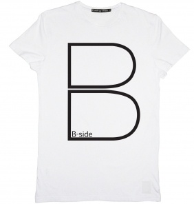 B-side HOLLOW B TEE WHITE WITH BLACK £30.00