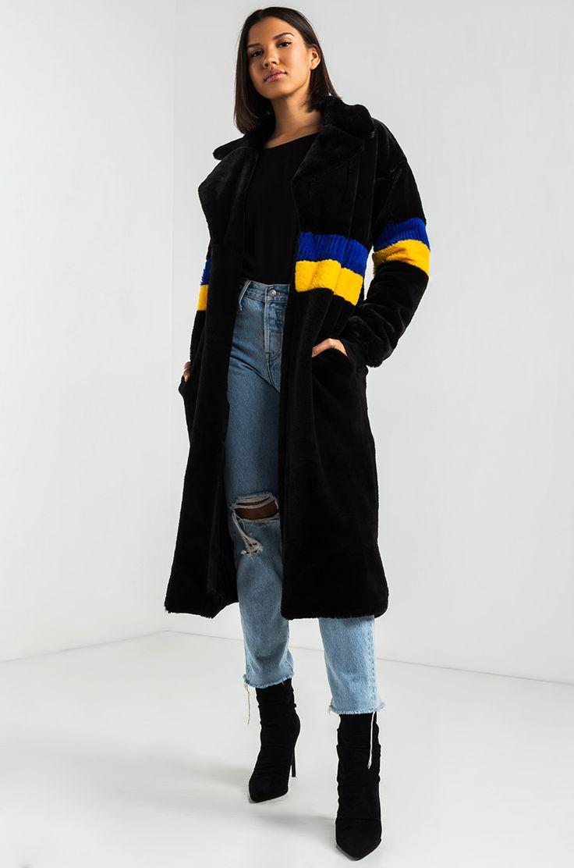 AKIRA Striped Faux Fur Long Statement Jacket in Black
