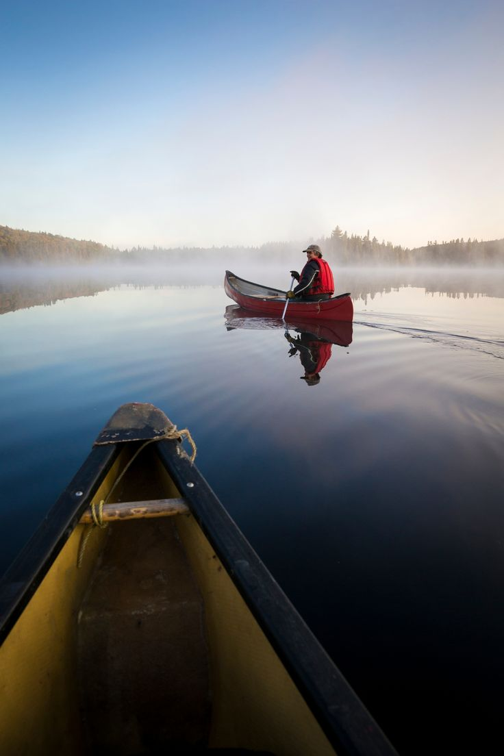 Canoeing on Lac-du-Fou, Mauricie National Park.