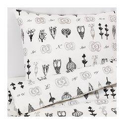 SISSELA Duvet cover and pillowcase(s), white, dark gray - white/dark gray - Full/Queen (Double/Queen) - IKEA