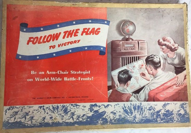 RARE Follow The Flag To Victory WWII Board Game Radio Flags 1942 George Cram USA #GeorgeFCramCompanyInc