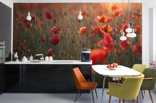 Hazy Poppy Field Wallpaper Mural - muralswallpaper.co.uk