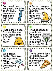 Subtraction word problems cards - great center with cute pictures
