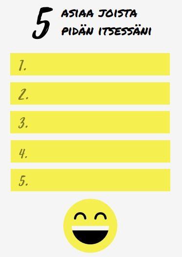 Lapsen tulee kirjoittaa viisi asiaa joista pitää itsessään.