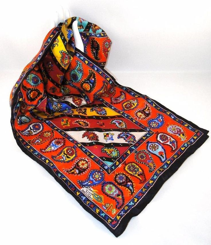 VTG LIBERTY LONDON SCARF OBLONG Paisley 100% SILK ENGLAND ...