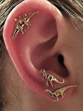 Golden Cute Dinosaur 3 Pack Earrings from choies.com .Free shipping Worldwide.$4.90 | #dinosaurs stud earrings