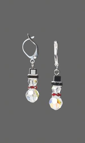 Snowman Earrings with SWAROVSKI ELEMENTS by Jamie Smedley.