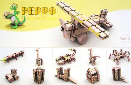 Pedro Midi Modular wooden construction kit set of 210 pcs  Price : £39.99 http://www.teaandgifts.co.uk/Pedro-Midi-Modular-wooden-construction/dp/B009K9VP92