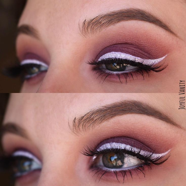 Purple smokey eye with white eyeliner makeup look