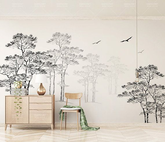 3D Black White Abstract Forest Birds Removable Wallpaper