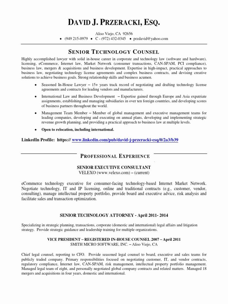 In House Counsel Resume Inspirational Vp Technology