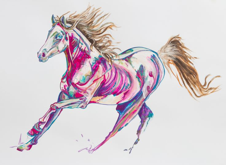 Maahra Rose  Elegant Arabian mare gliding across, personifying dignity, grace and stamina. The rose colour is dominant in this painting, symbolising vibrancy and a reflection of Maahra's personality amongst her qualities.   Her movements are smooth as the sun touches her body, a velvety sheen is cast upon her coat, hence the dominant rose colour of the painting.  #Saatchi Art #Artist #Yaheya Pasha #Painting #art #equestrian #horse #equine