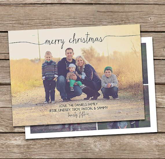 Photo Christmas Card Template: Merry Christmas Script by deanworks