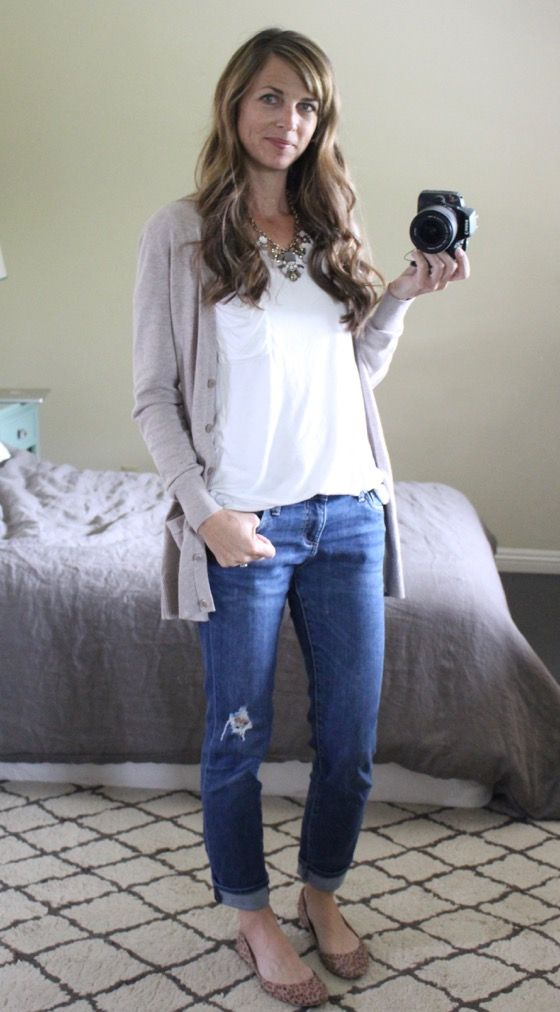 what i wore - upgraded jeans & white tee: distressed boyfriend jeans, tan cardigan, leopard flats, statement necklace