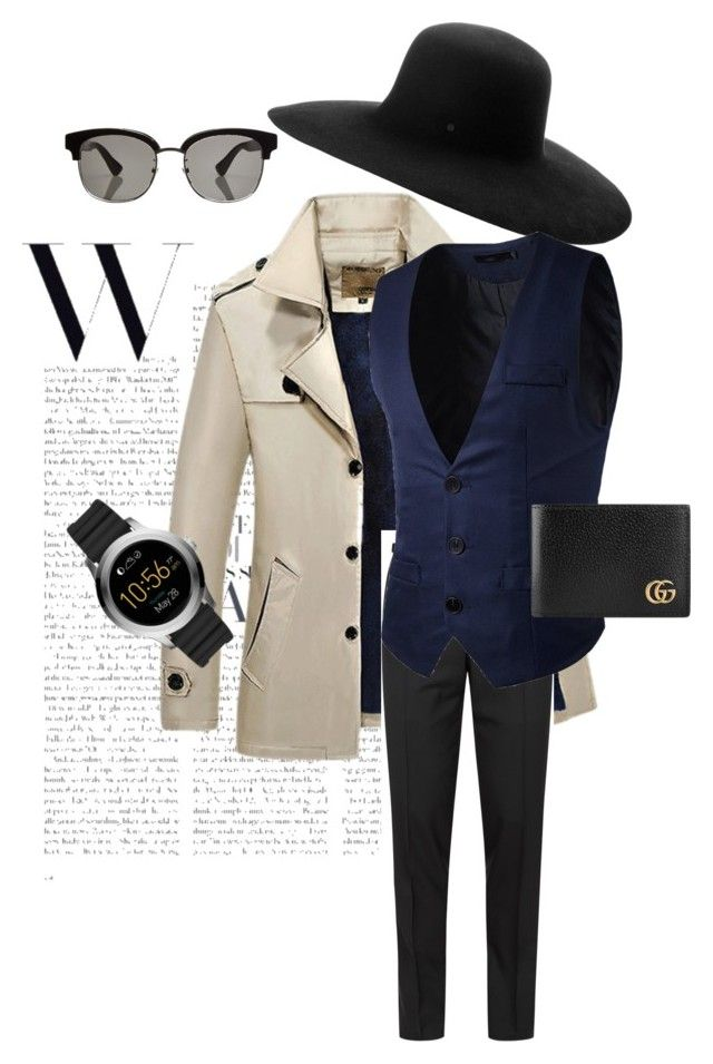 Men Semi Formal Outfit by creative-esprecielo on Polyvore featuring Tom Ford, Gucci, FOSSIL, Maison Michel, men's fashion and menswear