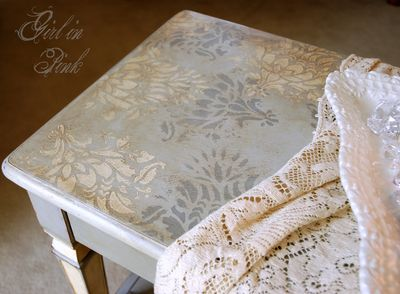 Limited edition stencil for Annie Sloan's US Tour 2012. Stenciled beautifully on a piano bench by Amanda Bachelder of One Girl In Pink - Paris Grey & Old White Chalk Paint® decorative paint by Annie Sloan | Royal Design Studio