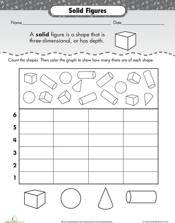Printables Three Dimensional Shapes Worksheets 1000 images about shapes on pinterest 3d preschool worksheets shape dimensions solid figures too kiddy involves data and graphing though