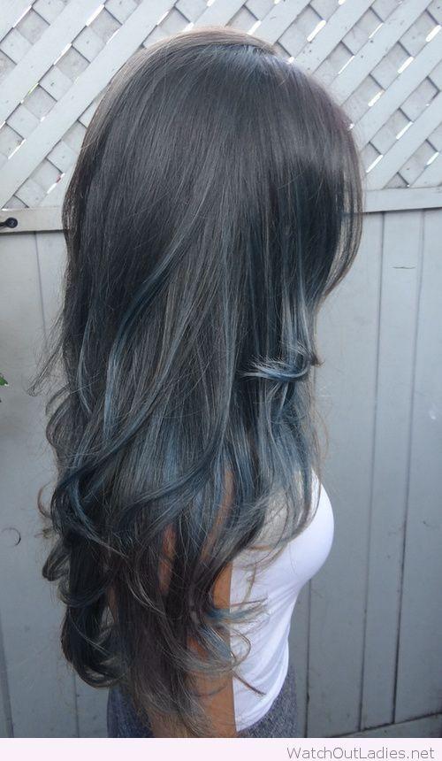 Grey blue in black hair color