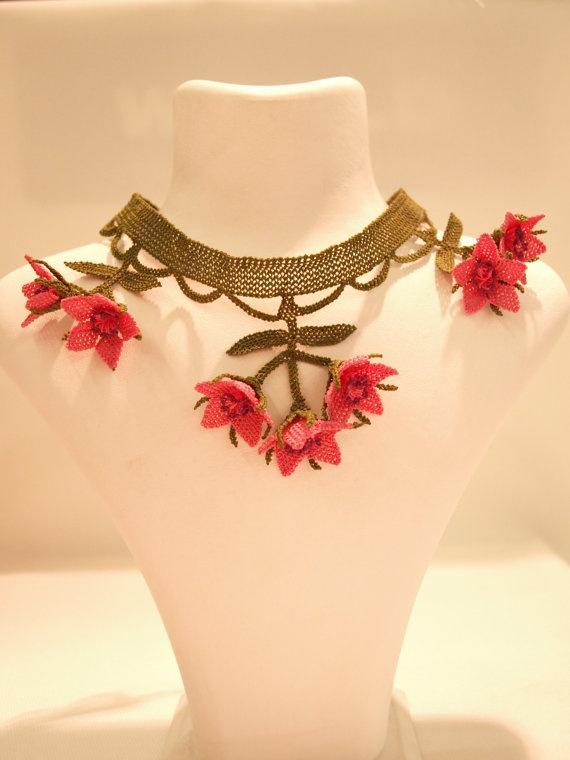 Silk Needle Lace Turkish Oya Necklace With Pink by EvilEyeGiftShop, $65.00