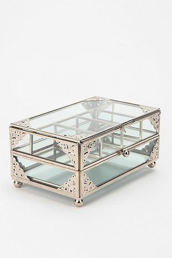 Glass Jewelry Box - Urban Outfitters love the vintage glass & brass jewelery boxes this has the same feel