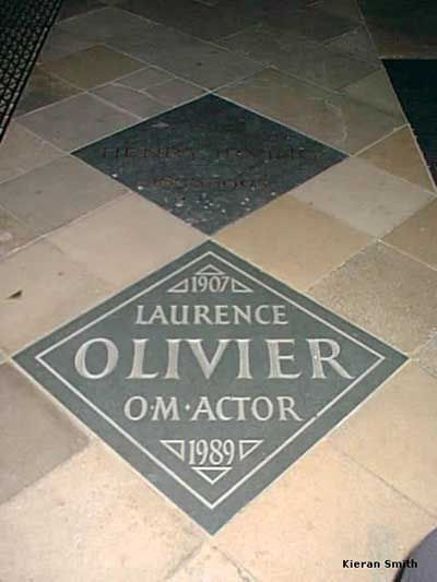 Laurence Olivier, 1907-1989 (cause of death: Unspecified) Buried Westminster Abbey * Birth name, Laurence Kerr Olivier